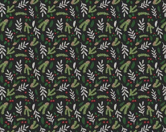 Comfort and Joy Floral Black by Riley Blake Designs - Christmas Holiday Holly - Quilting Cotton Fabric - choose your cut