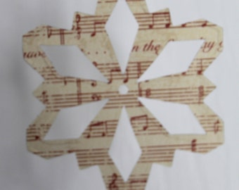 10 music note Snowflake paper covered chipboard small die cuts use as ornaments, garlands+