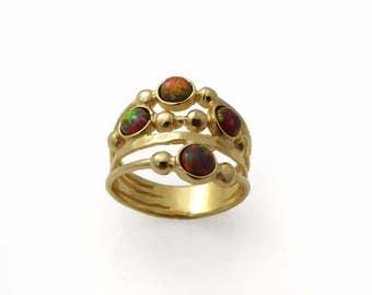 Gold opal ring. Opal ring. fire Opal gold ring. Wide ring. Wide gold ring. Wide opal ring. Wave gold ring. Wave opal ring.