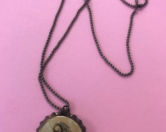Mongrammed letter A bottlecap necklace