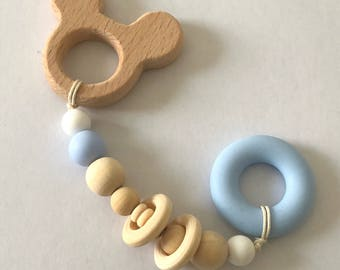 Rattle Teether wood and silicone