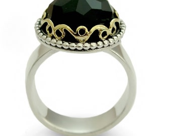 Large Onyx ring , Black stone ring, Silver gold estate ring, Two tones Engagement ring, Onyx gemstone ring, for woman ornament everyday ring