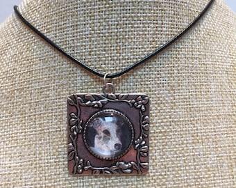 Necklace cabochon dog Greyhound