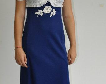 1970's Maxi Dress Vintage Blue w/ Lace Bodice