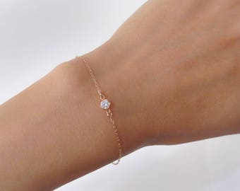 Rose Gold Solitaire Bracelet, Rose Gold Bracelet, CZ Diamond Bracelet, cubic zirconia Bracelet, bridesmaid gift, Simple Delicate Bracelet