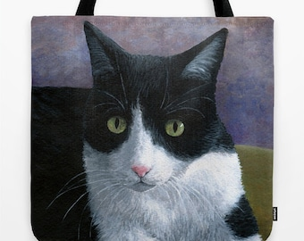 Tote Bag Cat 577 Tuxedo All over print from art painting L.Dumas Artbylucie Totes