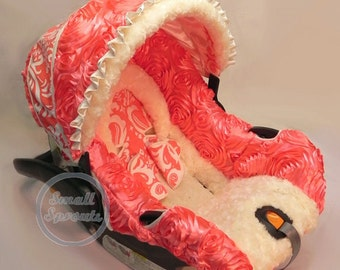 Coral Roses/Coral Damask/Minky Rosette Infant car seat cover 5 piece set