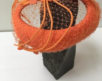 1960s Tilt Hat Netting Orange Dream Summer Millinery