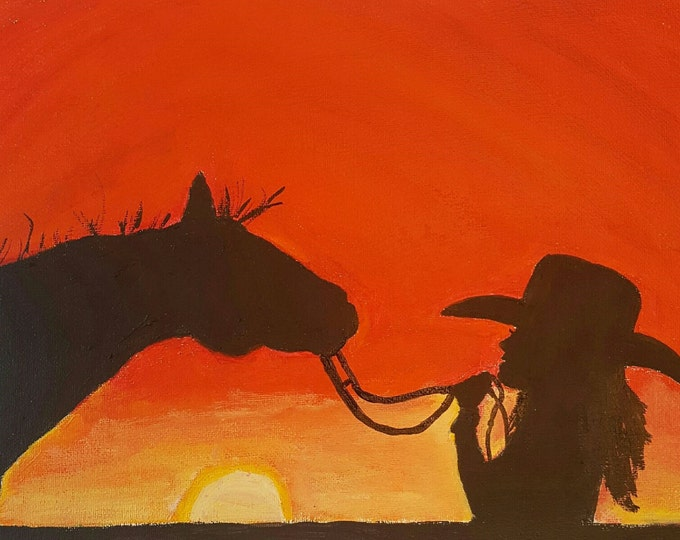 Cowgirl Art Print - acrylic painting - clearance