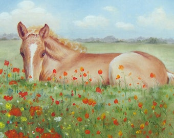 Note Card Blank Inside With Envelope Foal Horse Art  Note Card Handmade NoteCard Thank You Card