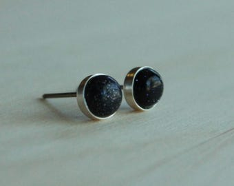 Blue Goldstone Gemstone Titanium Earrings Studs / 6mm Cabochon Bezel Set / Allergy Free Earrings for Metal Allergies
