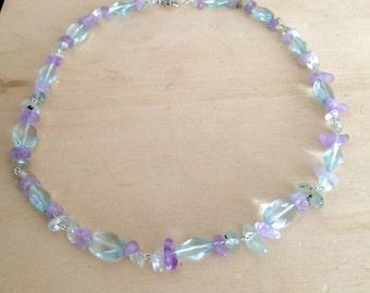 Amethyst, Citrine and Aqua Glass Necklace