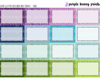 Silver Glitter Outlined Half Boxes // Planner Stickers!