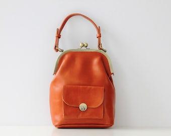 Leather Handbag, Leather bag, Kiss lock, vintage, leather purse, camel brown, top handle bag, shoulder bag,  crossbody, handmade, sling bag