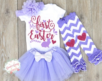 Easter outfit baby girl, Baby Girl Easter Outfit, First Easter Outfit, Girls Easter Clothes, My First Easter, Light Purple