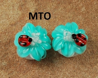 Lampwork Beads, Glass Beads, Made To Order, Ladybug, Teal Flower, Earring Beads SRA #112 by CC Design