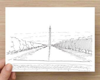 Washington Monument - Washington DC, National Mall, Ink Drawing, Sketch, 5x7 Print, Art, Drawing, Illustration, Reflecting Pool, Landscape
