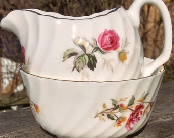 Pretty in Pink Ridgway Potteries Royal Adderley Sugar Bowl and Creamer