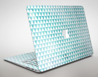 Blue-Green Watercolor Trangle Pattern - Apple MacBook Air or Pro Skin Decal Kit (All Versions Available)
