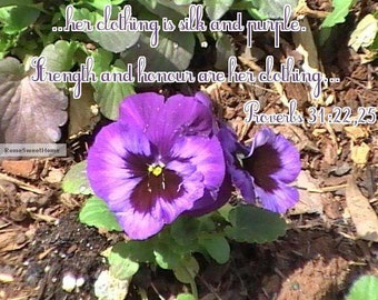 Gorgeous Violets with Bible Verse - Inspirational Art - JPG Instant Download - Great Gift