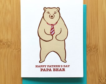 Papa Bear Fathers Day Card - Card for Dad, Grizzly Bear Dad Card, Teddy Bear Card