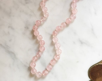 Vintage 90s Natural Round Rose Quartz Gemstone Beads Necklace