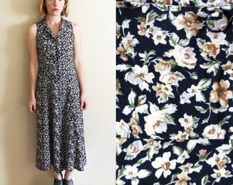 vintage dress grunge clothing maxi 1990s navy blue floral print sleeveless size s small