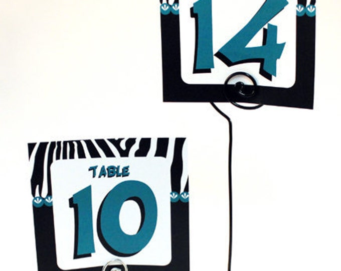 Quinceañera, sweet 16, Zebra Theme party decor, table number and wire holder.