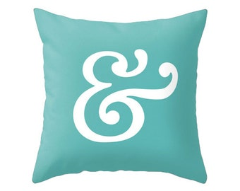 Ampersand pillow cover. Teal pillow ampersand cushion typography cushion black and white pillow black and white cushion teal cushion