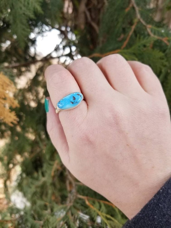 RESERVED : Handmade Kazakhstan Lavender Turquoise Ring, Sterling Silver Turquoise Statement Ring