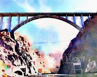 Watercolor Hoover Dam Bridge Art Digital Photo
