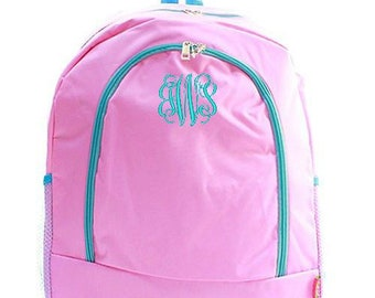 Monogrammed Backpack Personalized Solid Pink Aqua Backpack Personalized Backpack Kids Backpack Girls Backpack Boys Backpack