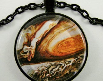 JUPITER Necklace -- Planet Jupiter with its Great Red Spot, Physics and Astronomy necklace for him or her