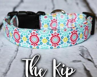 """Dog Collar-Colorful Dog Collar, Bright Dog Collar, Red Dog Collar, Yellow Dog Collar, Blue Dog Collar, """"The Kip"""""""