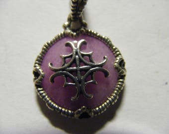 Lavender quartz pendent  with symbol  sterling silver.
