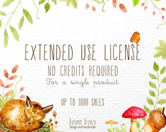 Commercial License for a single clip art set     up to 1000 sales