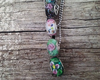 Round Big Hole Lampwork Glass Bead Perfect for brides maid gifts stainless steel necklace