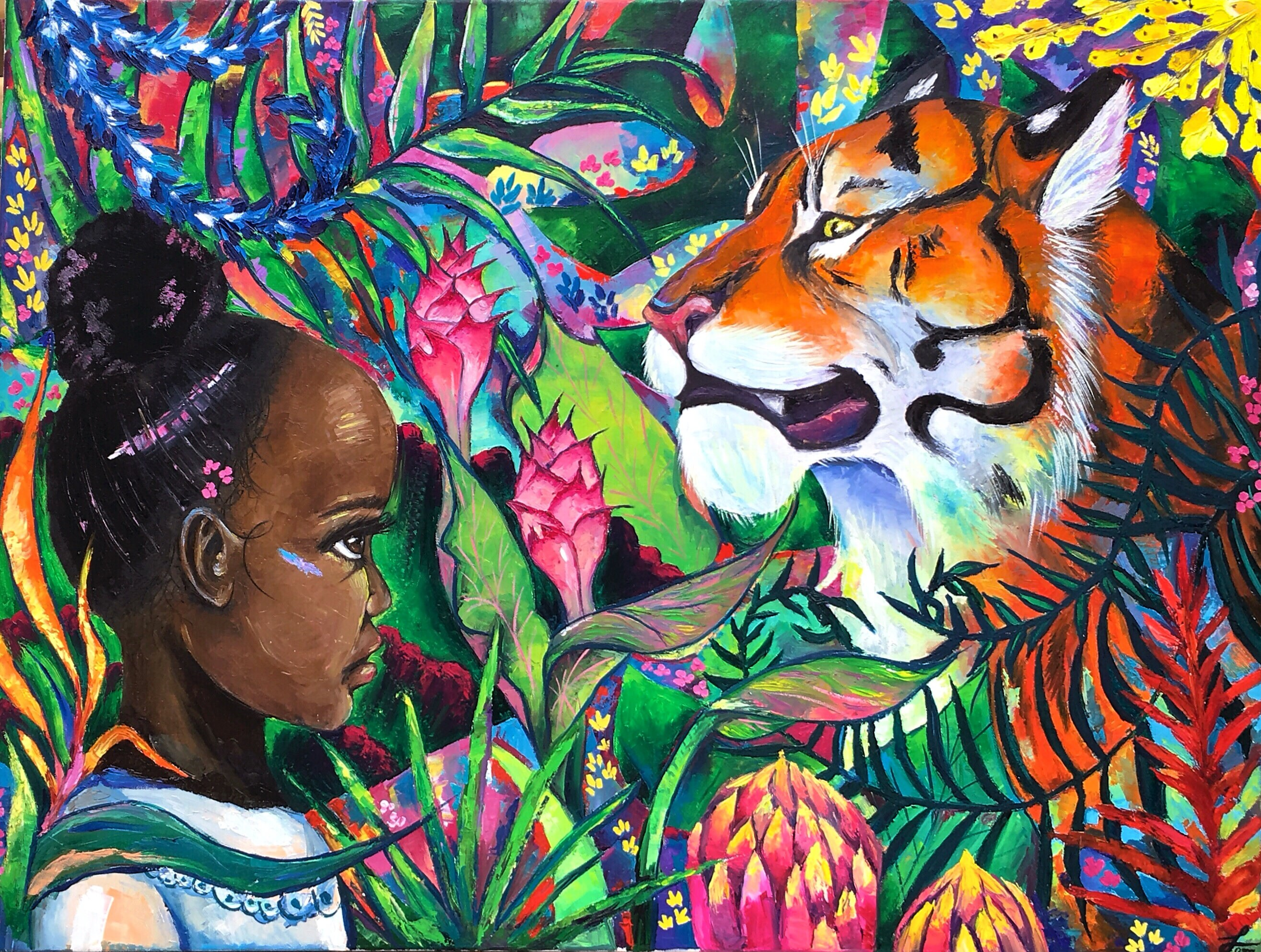 Jungle painting jungle art modern art African girl tiger