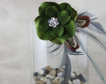Green and Grey Feather Hair Fascinator