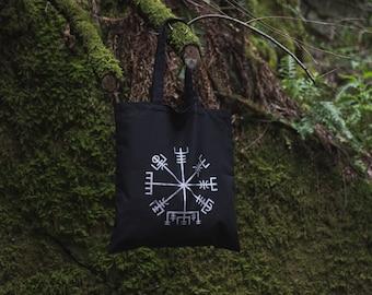 Vegvísir tote bag, icelandic magic stave, screen-printed, 100% cotton