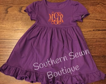Monogrammed Ruffle Short Sleeve Dress