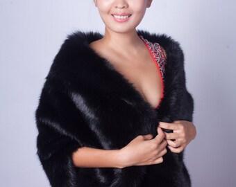 Black faux fur bridal wrap, Wedding Fur shrug, Black Fur Wrap, Bridal Faux FurStoleFur Shawl Cape,wedding faux fur wrap (Butterfly Blk01)