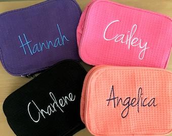Monogrammed Makeup Case with Name - Monogrammed Name Make Up Bag - Personalized Bridesmaids Makeup Bags - Monogrammed Make Up Bag