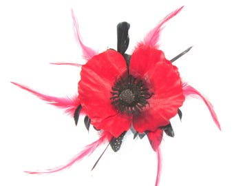 Large red poppy hair fascinator comb withfeathers, Weddings, races, special events