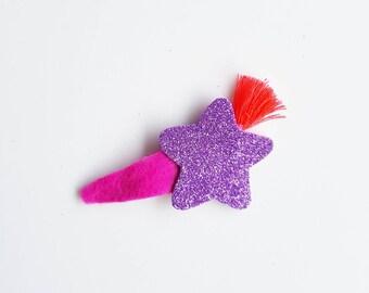 "Handmade hair snap clip ""glitter"" edition. PURPLE"
