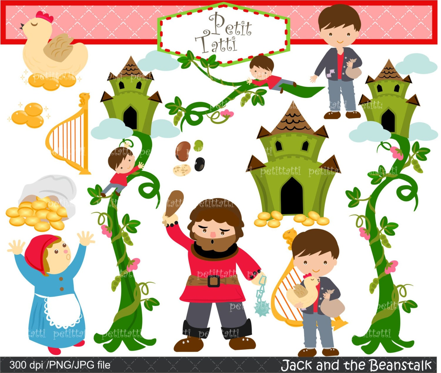 on sale jack and beanstalk digital clipart children story rh etsy com jack and the beanstalk characters clipart jack and the beanstalk castle clipart