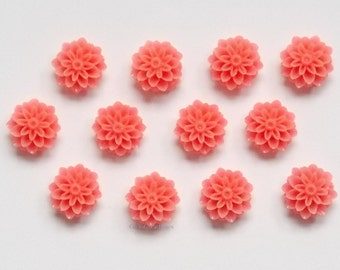 12 Cabs 15mm Deep Pink Mums, Resin Cabochons, Flower Cabs for Jewelry Making, Plastic Pompon Chrysanthemum Flower, 15 mm