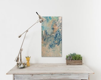 Abstract Fluid Art Painting 15x30, Wall Art, Beach Cottage Art, Pour Painting, Canvas Art, Original Fluid Painting by MarvelsArt