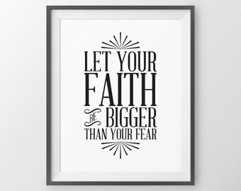 Bible Verse Scripture Art Christian Wall Decor Religuos Home Decor Faith Quotes Faith Over Fear Scripture Wall Art Christian Wall Art