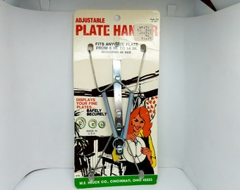 "Plate Hanger - Adjustable Hanger For Plate - Holds Plate Sizes 6"" to 14"""